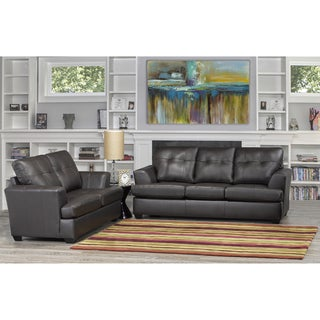 Carrera Premium Brown Top Grain Leather Sofa and Loveseat