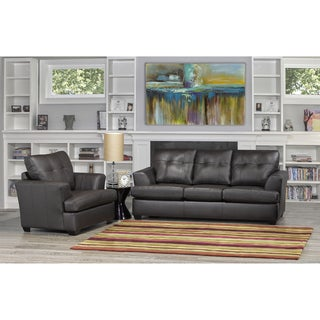 Carrera Premium Brown Top Grain Leather Sofa and Chair