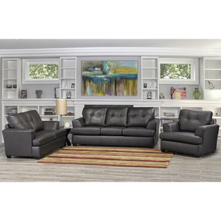 Carrera Premium Brown Top Grain Leather Sofa, Loveseat and Chair
