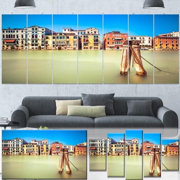 Designart 'Traditional Buildings of Venice' Landscape Canvas Wall Art - Blue