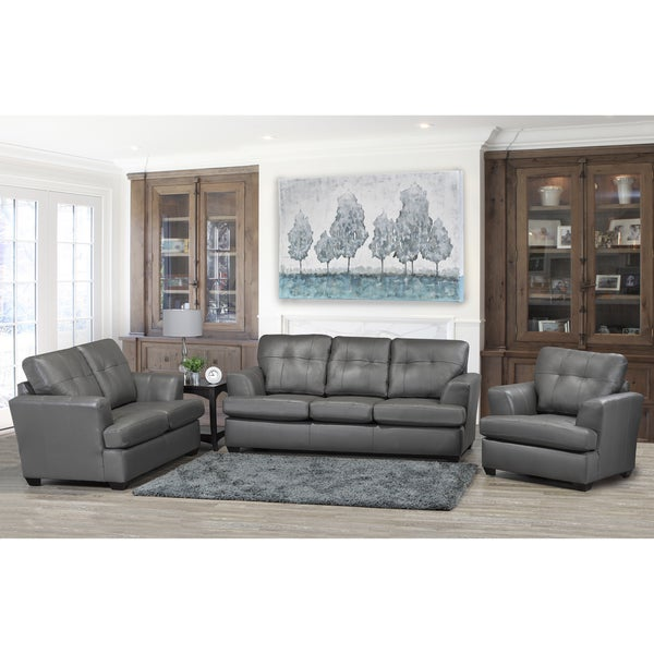 Shop Travis Premium Grey Top Grain Leather Sofa Loveseat And Chair