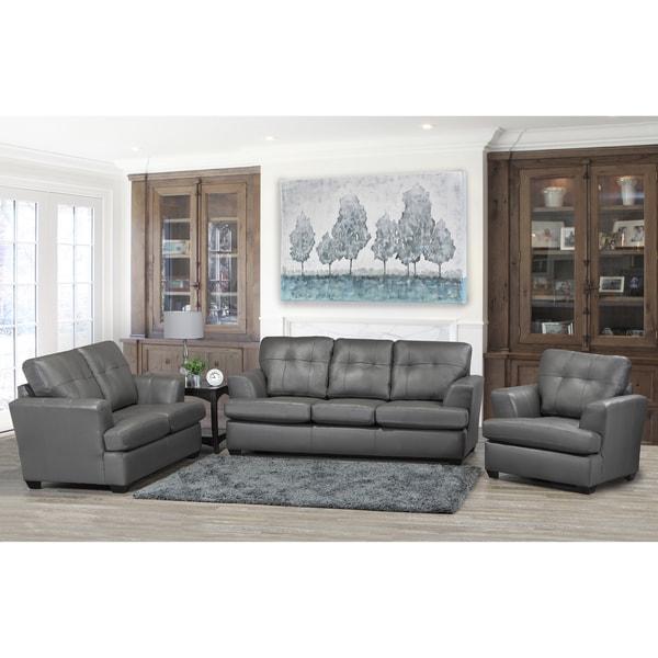 Travis Premium Grey Top Grain Leather Sofa Loveseat And Chair Set