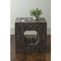 East At Main's Memphis Grey Teakwood Square Accent Table