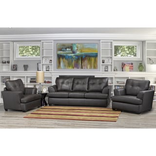 Carrera Premium Brown Top Grain Leather Sofa and Two Chairs Set