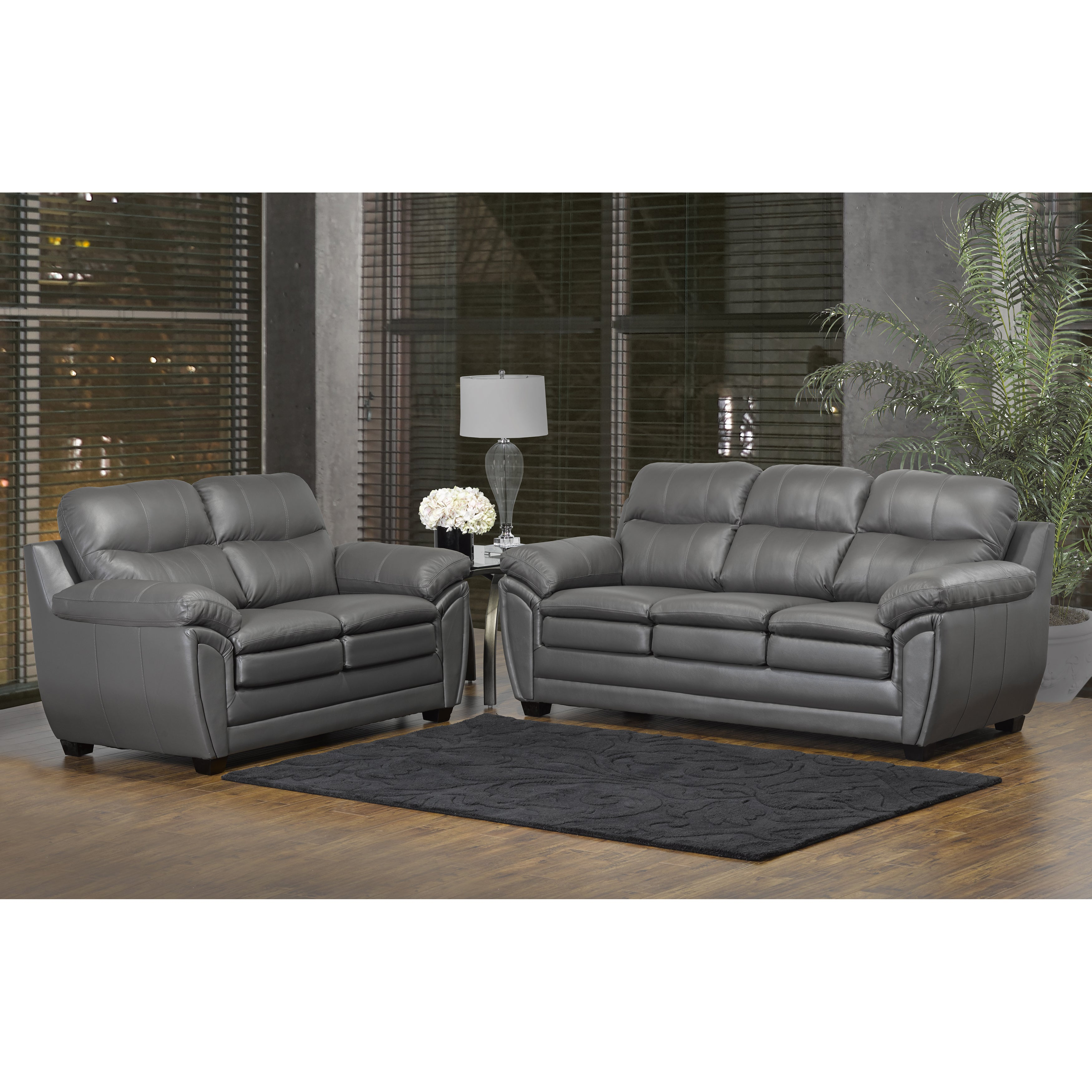 Marcus Grey Top Grain Leather Sofa Loveseat Set 38 X 86 X 36 On Sale Overstock 13251187