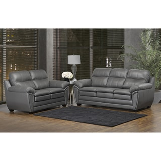 Marcus Premium Grey Top Grain Leather Sofa and Loveseat Set - 38 x 86 x 36