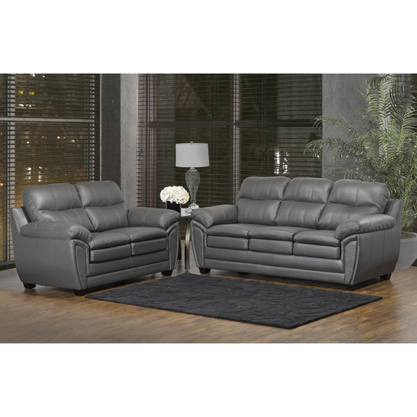 Perfect Marcus Premium Grey Top Grain Leather Sofa And Loveseat Set