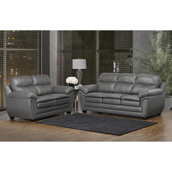 Shop Marcus Premium Grey Top Grain Leather Sofa And Loveseat Set