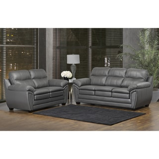 Marcus Premium Grey Top Grain Leather Sofa and Loveseat Set