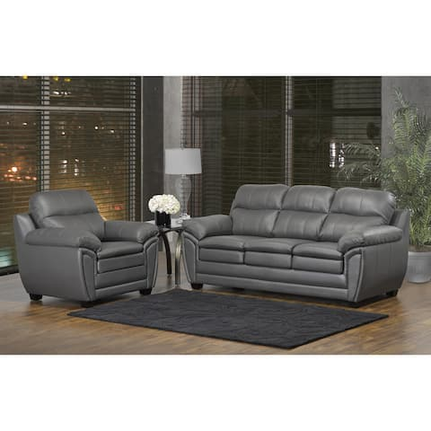 Marcus Premium Grey Top Grain Leather Sofa and Chair