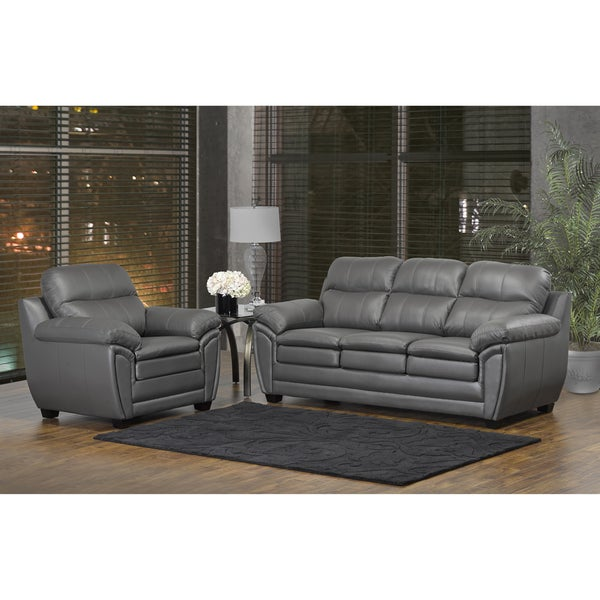 Shop Marcus Premium Grey Top Grain Leather Sofa And Chair