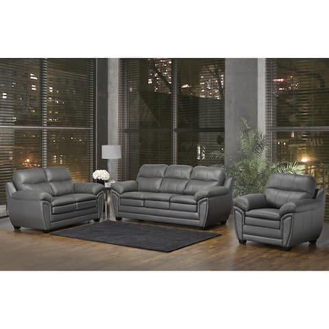 Marcus Premium Grey Top Grain Leather Sofa, Loveseat and Chair