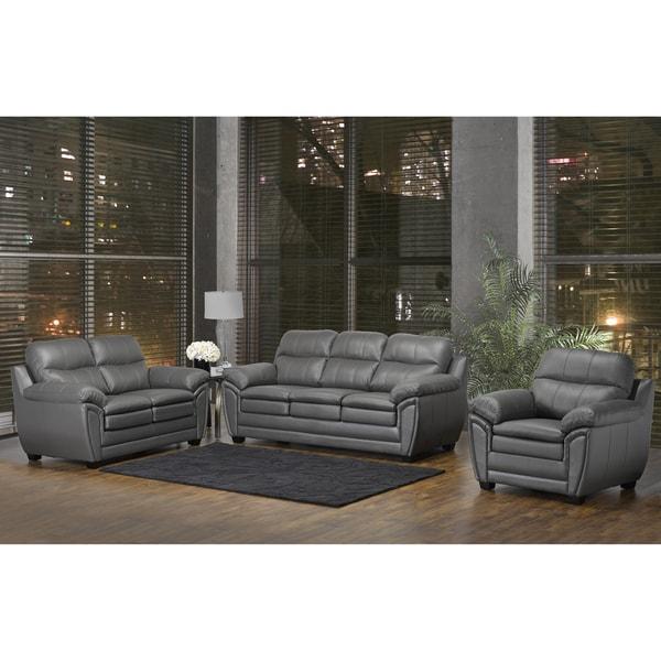 Shop Marcus Premium Grey Top Grain Leather Sofa Loveseat And Chair