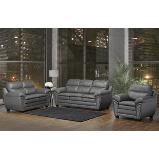 grey leather living room furniture. Marcus Premium Grey Top Grain Leather Sofa  Loveseat and Chair Living Room Furniture Sets For Less Overstock com