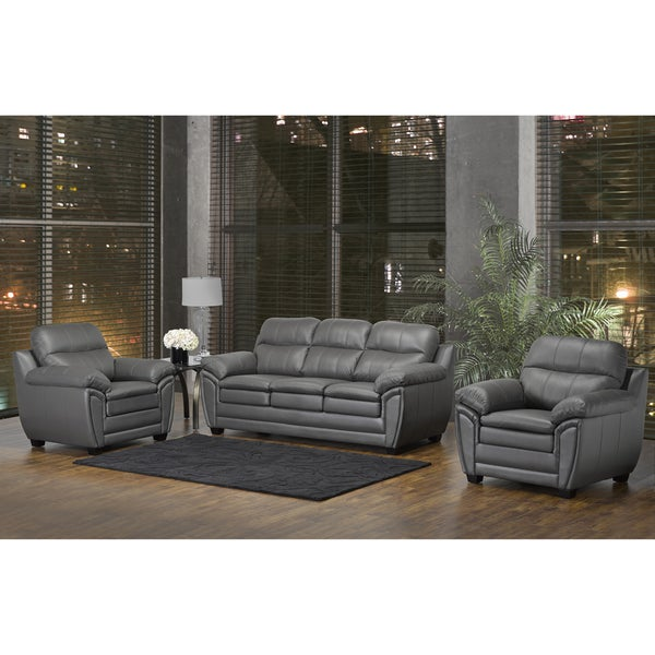 Marcus Premium Grey Top Grain Leather Sofa And Two Chairs - Free
