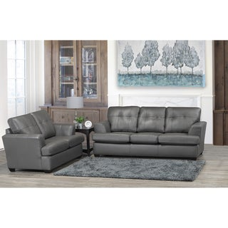 Travis Premium Grey Top Grain Leather Sofa and Loveseat