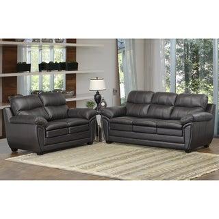Upton Premium Brown Top Grain Leather Sofa and Loveseat