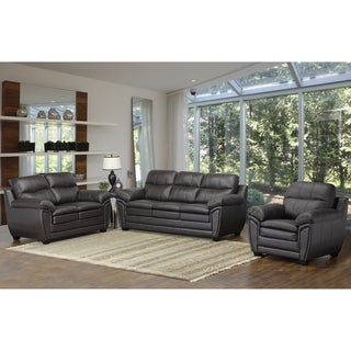 Upton Premium Brown Top Grain Leather Sofa, Loveseat and Chair