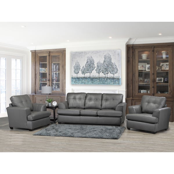Shop Travis Premium Grey Top Grain Leather Sofa and Two Chairs Set ...