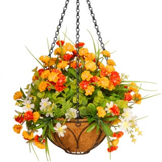 National Tree Company 13-inch Spring Flowers Hanging Basket