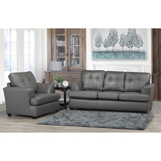 Travis Premium Grey Top Grain Leather Sofa and Chair