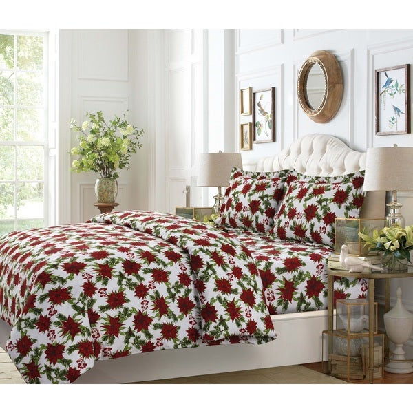 'Christmas Joy' Flannel Duvet Cover and Shams (3-Piece Set)