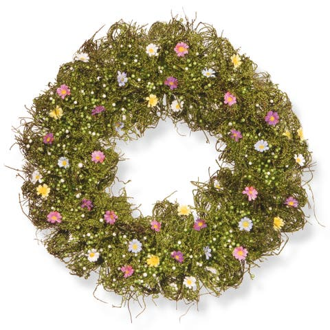 National Tree Company Spring Flower 19-inch Artificial Wreath