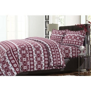 Oslo Printed Cotton Flannel Oversize 3-piece Duvet Cover Set