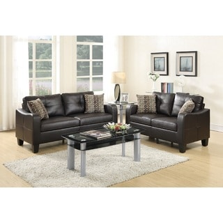 Artik Espresso Bonded Leather Loveseat and Sofa
