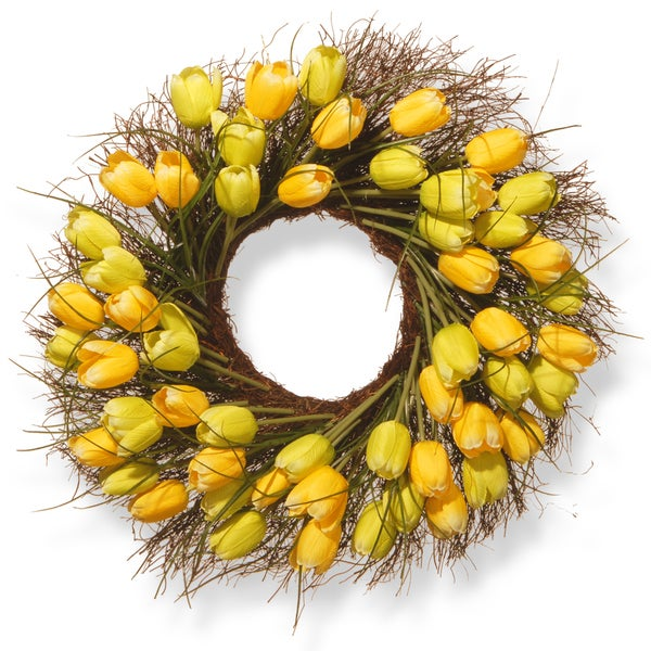 National Tree Company 24-inch Yellow Tulip Wreath. Opens flyout.