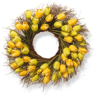 National Tree Company 24-inch Yellow Tulip Wreath