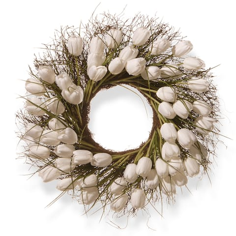 National Tree Company White Plastic 24-inch Tulip Wreath