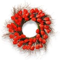 Natioinal Tree Company Red Plastic 24-inch Tulip Wreath