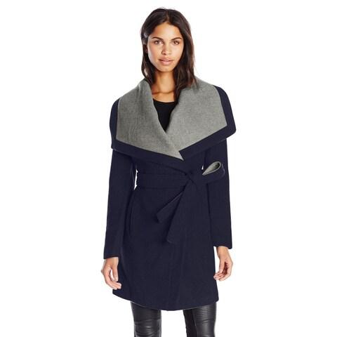 BCBGeneration Navy Belted Wool Blend Wrap Coat