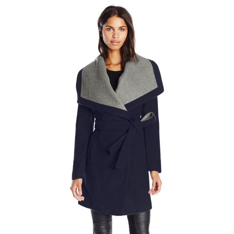 BCBGeneration Navy Belted Wool Blend Wrap Coat