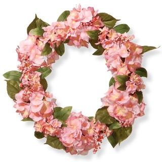 National Tree Company Pink 24-inch Hydrangea Wreath