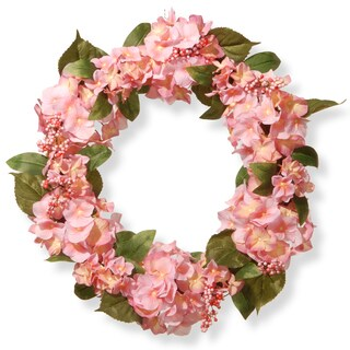 National Tree Company Pink 24-inch Hydrangea Wreath (Option: Pink)