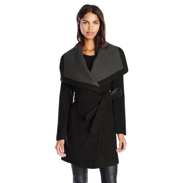 BCBGeneration Black/Grey Wool Belted Wrap Coat - Free Shipping ...