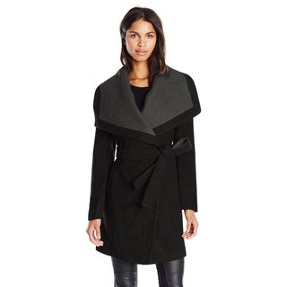 BCBGeneration Black/Grey Wool Belted Wrap Coat