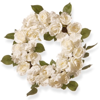 National Tree Company White Rose 16-inch Wreath
