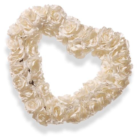 National Tree Company White Plastic 17-inch Rose Heart Wreath