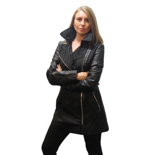 Laundry Black Cotton Small Trench Coat