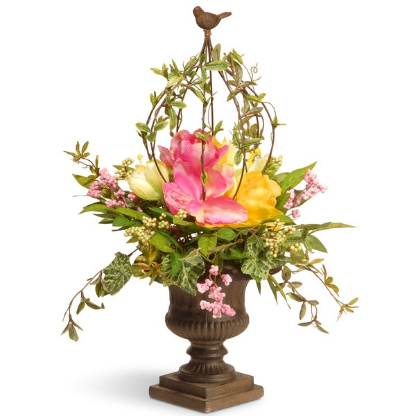 National Tree Company Multicolor 25-inch Spring Faux Floral Topiary