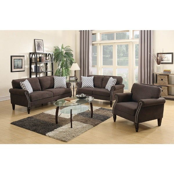 Sisian 3 Piece Living Room Set Upholstered In Velveteen Fabric Free Shipping Today Overstock