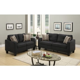 Sevan Loveseat and Sofa Set with Polyfiber Upholstery
