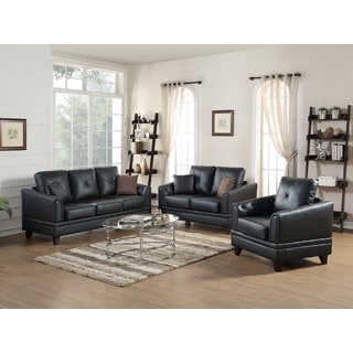 Vedi 3-Piece Living Room Set in Genuine Leather Match