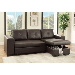 Krems Convertible Sectional Upholstered in Faux Leather