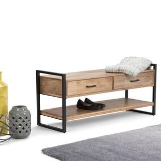 WYNDENHALL Lawson Solid Mango Wood 48 inch Wide Modern Industrial Entryway Bench in Natural - 48 W x 16 D x 21 H