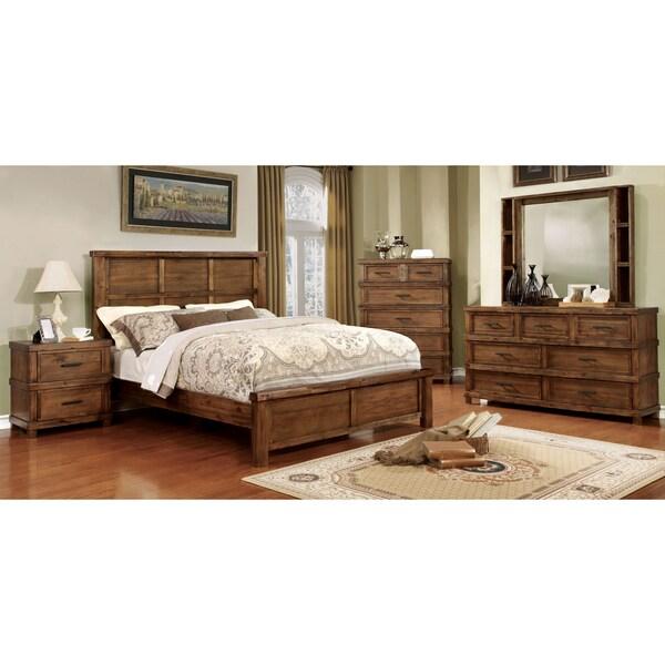 Furniture of America Stamson Rustic 4-piece Antique Oak Bedroom Set - Shop Furniture Of America Stamson Rustic 4-piece Antique Oak Bedroom