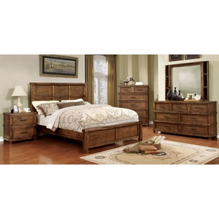 Furniture of America Stamson Rustic 4-piece Antique Oak Bedroom Set